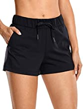 CRZ YOGA Women's Stretch Lounge Travel Shorts Elastic Waist Comfy Workout Shorts with Pockets -2.5 Inches Black Small