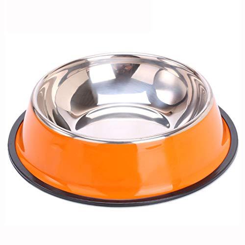 YYQQ Cuenco para Perros De Acero Inoxidable, Cuenco Metálico para Gatos para Mascotas, con Base De Goma para Perros Pequeños/Medianos/Grandes, Comedero para Mascotas Y Cuenco De Agua,Naranja