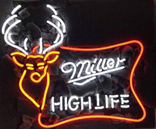 """Queen Sense 17""""X13"""" Miller High Life Outdoors Deer Buck Stag Neon Sign (VariousSizes) Beer Bar Pub Man Cave Business Glass Lamp Light DC341 (17 Inches)"""