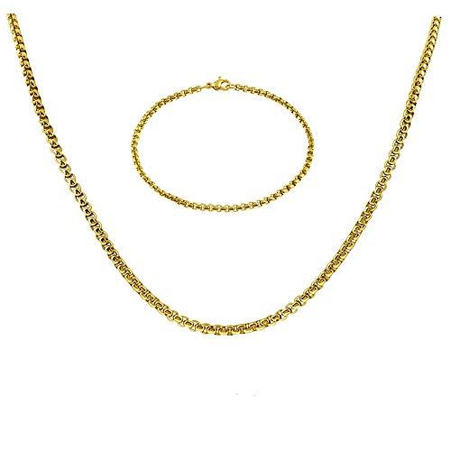 Styleziel 1850 Sieradenset voor dames en heren, halsketting, armband, erwtenketting Venetiaanse ketting, goud, roestvrij staal, byzantinerketting, halsketting, lengte 60 cm
