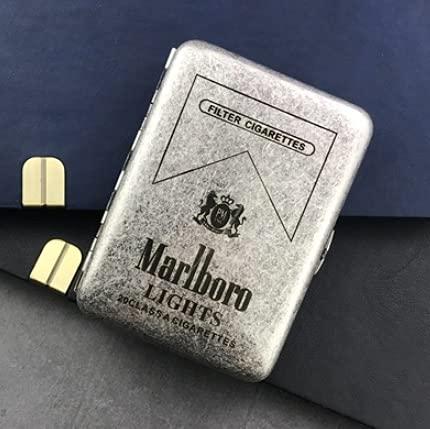 XIAOXIA Portable hombres cigarrillo clip creativo plata antigua doble abierto puro cobre 16 cigarrillo caso tallada Marlboro