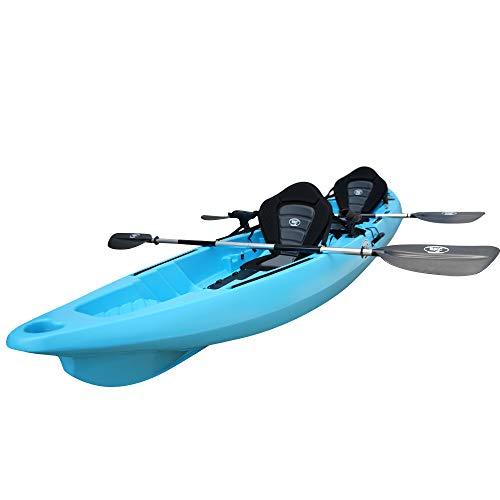 BKC TK122 Angler 12-Foot, 8 inch Tandem 2 or 3 Person Sit On Top Fishing Kayak w/Premium Memory Foam Seats and Paddles (Sky Blue) -  Brooklyn Kayak Company, TK122P-BLUE