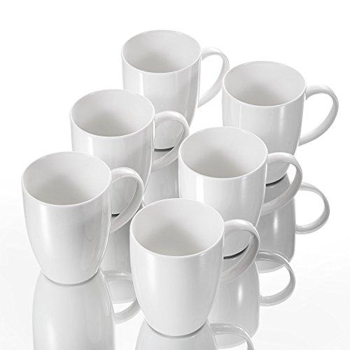Panbado 6 TLG. Kaffeetassen aus Porzellan, Weiß Kaffeepott Set, 370 ml Große Tasse