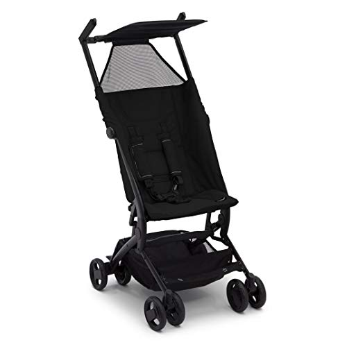 The Clutch Stroller by Delta Children - Lightweight Compact Folding Stroller - Includes Travel Bag - Fits Airplane Overhead Storage - Black