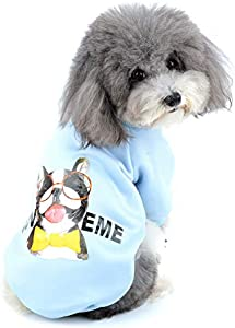 Zunea Sudadera para Perros Pequeños Ropa de Invierno Cálido Abrigo Jersey Suéter de Algodón Acolchado para Cachorros Mascotas Chihuahua Yorkshire Gatos para Clima Frío Azul S