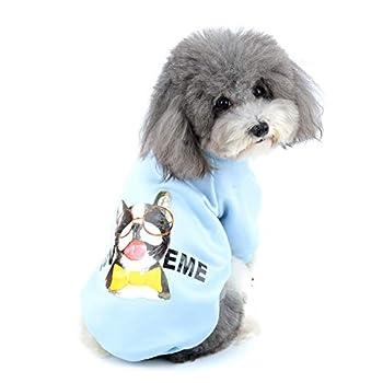 Zunea Vetement pour Petit Chien Manteau Hiver Pull-Overs Sweat en Coton Rembourré Chiot Veste Costume pour Chien Chat Yorkshire Chihuahua Bleu S