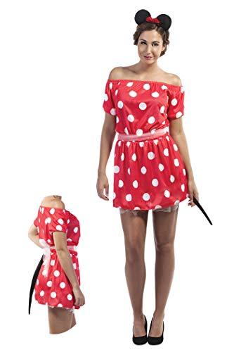 P'Tit Clown 89380 - Disfraz de ratn, para mujer adulta, talla nica, color negro y rojo