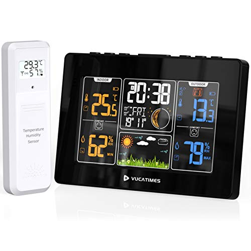 VUCATIMES W1 Weather Station Wireless Indoor OutdoorThermometer, Digital Color Forecast Station for Home with Backlight, Multiple Remote Sensors, Alarm Clock, Moon Phase