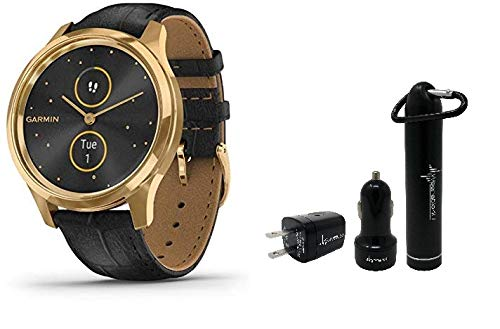 Garmin Vivomove 3 Luxe Hybrid Smartwatch and Wearable4U Power Pack Bundle (24K Gold/Black, Leather)