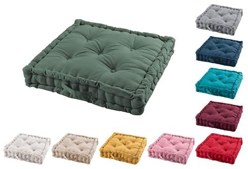 TIENDAEURASIA Cojines de Suelo - 100% Algodón Lisa - Ideal para sillas, Bancos, palets, Suelos - Uso Interior y Exterior (Verde Caqui, 60 x 60 x 10 cm)