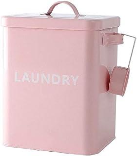 Baffect Boîte de Poudre de blanchisserie à la Maison, boîte en métal scellée de récipient de Poudre à Laver avec la cuillè...