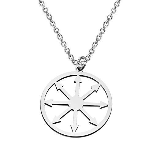 CENWA Star of Chaos Steel Amulet Charm Stainless Steel Charm Pendant Symbol Magic Sigil Star Snake Gift for Men or Women