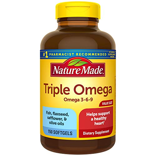 Nature Made Triple Omega 3-6-9, 150 Softgels Value Size, Omega Supplement For Heart Health