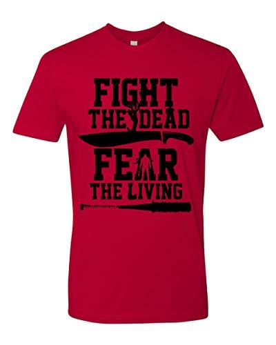 Camiseta Fight The Dead, Fear The Living para adultos e crianças, Vermelho, XS