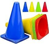 Komoyo Confezione da 12 Coni da Calcio, Coni stradali in plastica, Colori Assortiti, per Allenamento Sportivo, per attività sul Campo, per Feste, Calcio, Baseball, Basket, Esercizio, Fitness
