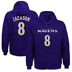 Outerstuff Lamar Jackson Baltimore Ravens #8 Youth Mainliner Player Name & Number Fleece Pullover Hoodie (Youth Medium 10/12) Purple