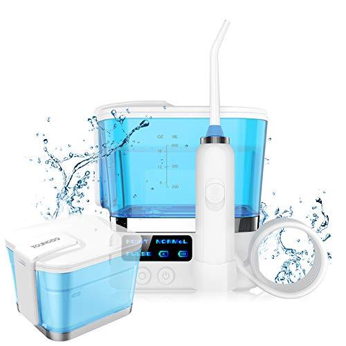 YOUNGDO Munddusche, faltbares Wasser Flosser für Zahnreinigung, kabellos feststehendes Oral Irrigator mit 600m Wassertank, 3 Modi und 10-stufigen Wasserdruck