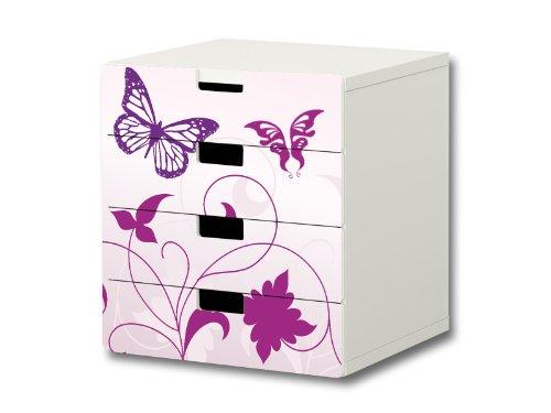 Stikkipix Butterfly Möbelsticker/Aufkleber - S4K04 - passend für die Kinderzimmer Kommode mit 4 Fächern/Schubladen STUVA von IKEA - Bestehend aus 4 passgenauen Möbelfolien (Möbel Nicht inklusive)