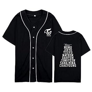 DHSPKN Kpop Twice Baseball Jersey Tzuyu Mina Momo Sana V Neck Hip-Hop T-Shirt