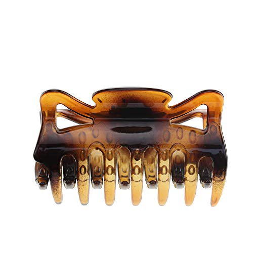 Women Crystal Plastic Hair Claw for thin to medium thick hair, Beauty Basic Jaw Clips (Brown)…