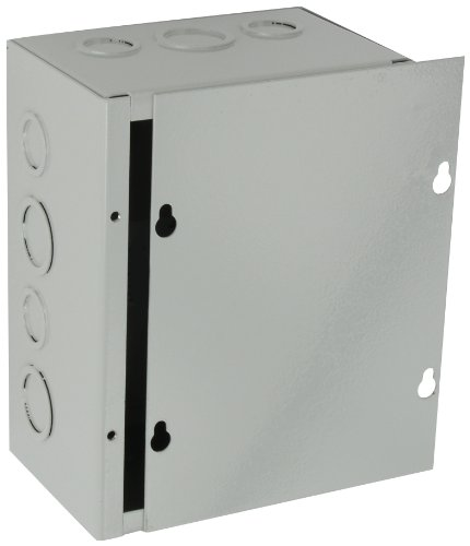 BUD Industries JB-3956-KO Steel NEMA 1 Sheet Metal Junction Box with Knockout and Lift-Off Screw Cover, 6' Width x 8' Height x 4' Depth, Gray Finish