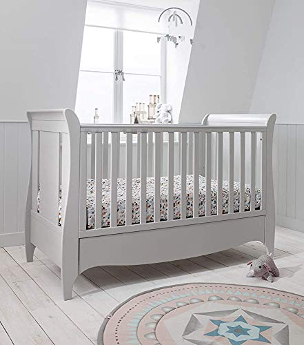 Solid Wood Furniture, Nursery Crib Furniture Design Suits Small Chest of Drawers Crib Adjustable Bed,Grey