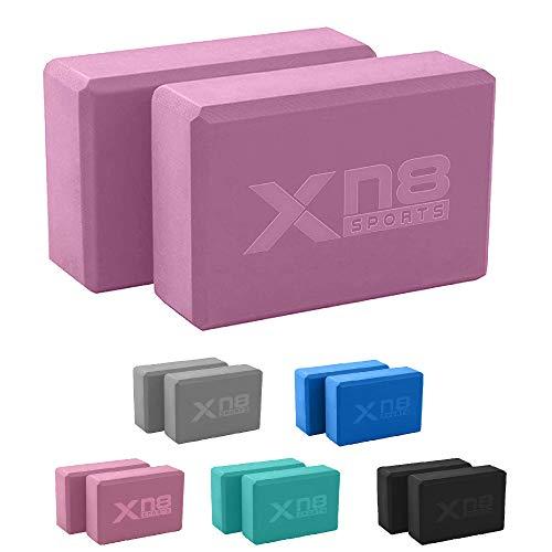 XN8 Yoga Block 2er Set Hochdichtem Eva-Schaum-YogaBlock Kork und Yoga Blöcke für Yoga oder Pilates Meditiation und Fitness Unterstützung- Balance für Anfänger und Fortgeschrittene (Lila)