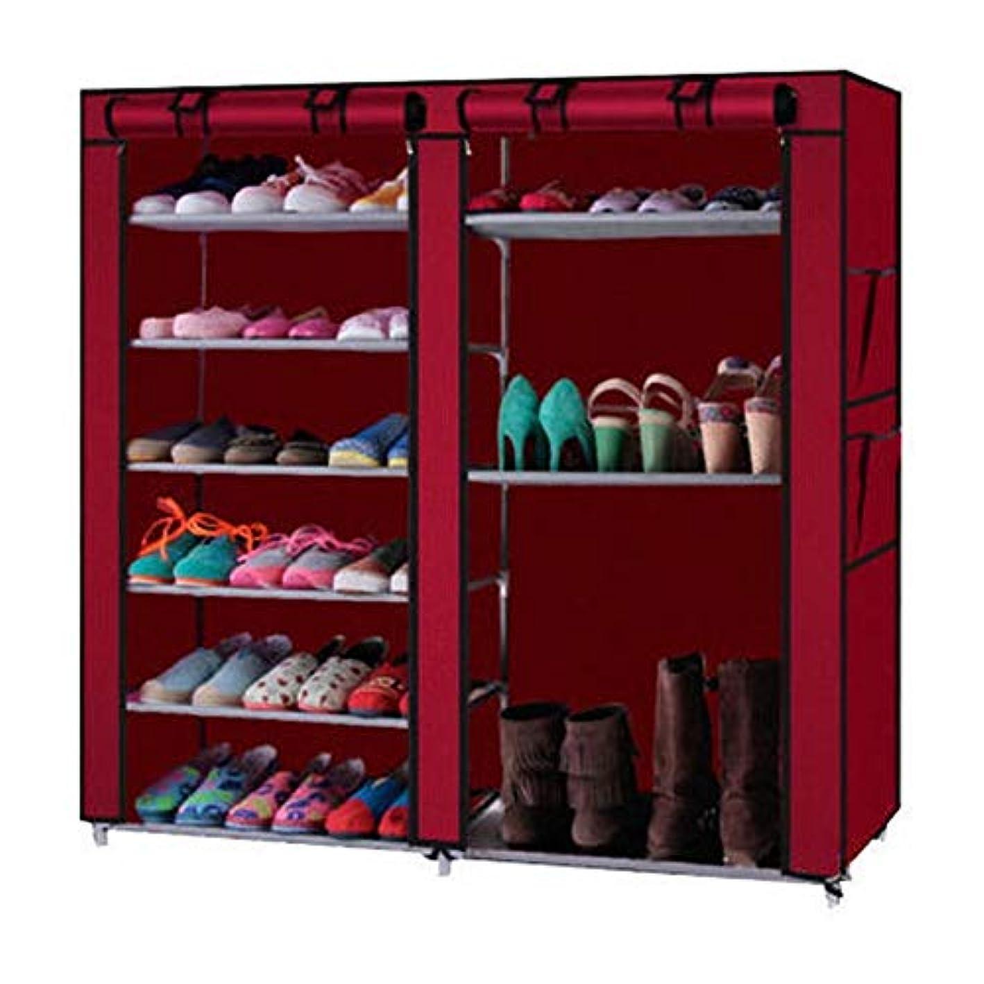 YANEE Shoe Rack Shelf Home Fabric, PE Plastic Storage Organizer Cabinet 6 Layer 12 Grid Close with Cover