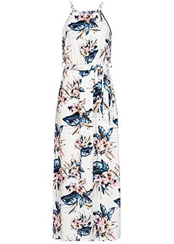 Styleboom Fashion® Damen Kleid Maxi Strap Dress Flower PrintSommerkleid Weiss blau rosa, Gr:XXL