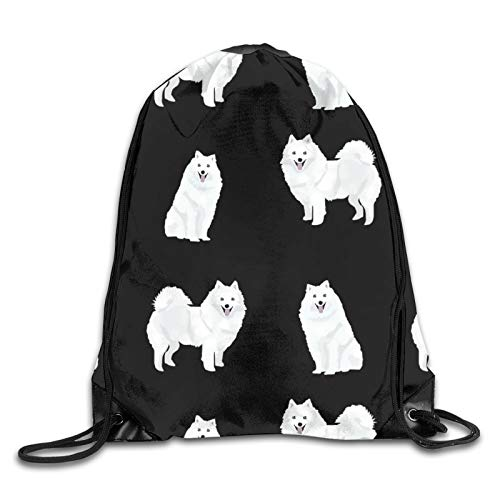 OMGiHome Japanese Spitz Backpack Gymsack Sack Pack White,Unisex Drawstring Shoulder Backpacks Drawstring Bags Casual Travel Bags Shoulder Pouch Beam Port Backpack Tote Canvas Bag Storage Bag