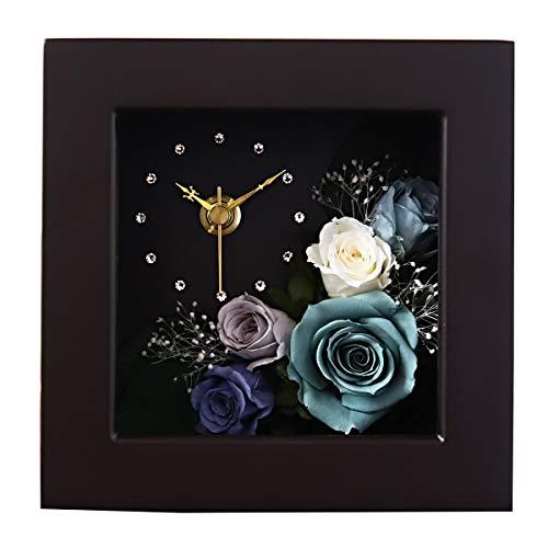 [名入れ可] プリザーブドフラワー 時計 花時計 プレゼント 花 掛け時計 おしゃれ 木製 かわいい 北欧 カラフル 壁掛け 置時計 置き時計 お祝い 刻印 名入れ ギフト アレンジメント ピンク 誕生日 ブラウン/ミストブルー