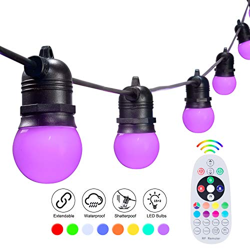 48FT Color Changing String Lights Outdoor G45 LED Patio Lights with 17 Shatterproof Bulbs(2 Spare) Waterproof Commercial Grade Hanging Lights for Backyard Garden Cafe Party Decor