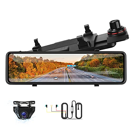 10.88'' Spiegel Dashcam mit Rückfahrkamera 2.5K Dashcam Rückspiegel Touchscreen Nachtsichtm Autokamera 1080P wasserdichte Rückfahrkamera mit 24H Parkplatz Monito Loop-Aufnahme mit 10 Metern Kabel
