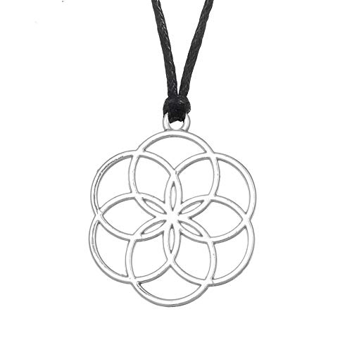 DTKJ Samen des Lebens Anhänger Halskette Blume des Lebens Yoga Schmuck Mandala Heilige Geometrie
