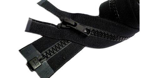 Wyprzedaż 60 cm kurtka Vislon zamek błyskawiczny (specjalny) YKK #5 formowany plastikowy sportowy zamek błyskawiczny ~ oddzielający - czarny 580 (2 zamki błyskawiczne/opakowanie)