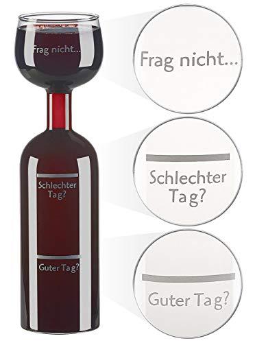 Rosenstein & Söhne Weinglas: 2in1-Weinflasche und XXL-Glas aus Echtglas, mit Aufdruck, 750 ml (Wein-Flasche)