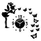 FANDE Reloj de Pared sin Marco, DIY Reloj de Etiqueta de Pared, Efecto de Espejo, Etiqueta de La Pared del Reloj Mudo 3D, para el Hogar, Oficina, Hotel, Decoración de Pared (Negro)