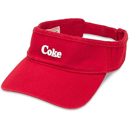 AMERICAN NEEDLE Coke Sun Visor Adjustable Cotton Sport Hat, with Curved Brim and Classic Coca Cola Soda Pop Beverage Embroidered Drink Logo, Red (COKE-1805A)