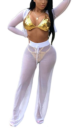 Bluewolfsea Women's Plus Size 2 Piece Mesh Swimsuit Bikini Cover Up Hoodie Crop Tops and Pants Set Plus Size Beach Party Outfits XXX-Large White