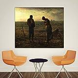 GEGEBIANHAOKAN Cuadros de Pared Pintura clásica Jean Francois Millet The Angelus Figura de decoración del hogar para Sala de Estar Lienzo Art Poster-80x90cm Sin Marco