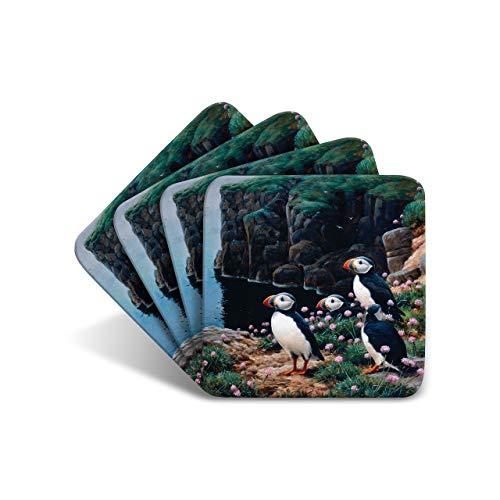 Getränke-Untersetzer von Wildlife Artist Julian Friers – Set von 4 Papageientaucher-Untersetzern – rutschfeste Kork-Tischuntersetzer