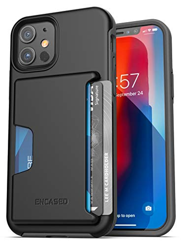 Encased Phantom Wallet Case Compatible with iPhone 12 Protective Cover with Card Holder Slot (3 Credit Cards Capacity) Black