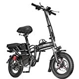 Folding Electric Bike 350W City Commuter Ebike 14 Inch Electric Bicycle with LCD Display Suitable for Adults and Teenagers ,10A Battery with Remote Key【Upgraded Version B】