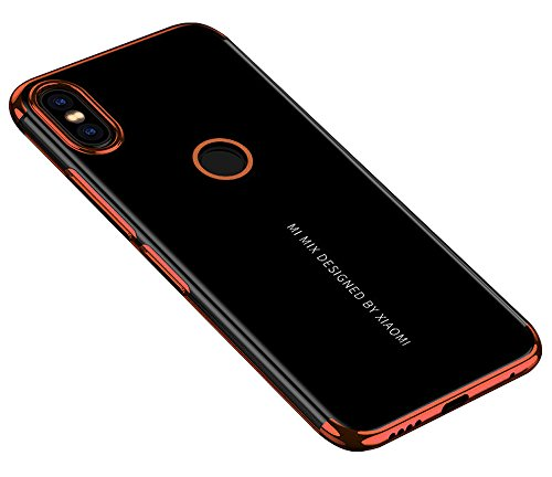 BLUGUL Xiaomi Mi Mix 2S Hülle, Electroplating Coloring, Crystal Clear Transparent Schutzhülle, Ultra-Dünn Hülle, Weiche TPU Silikon Cover für Xiaomi Mix 2S, Roségold