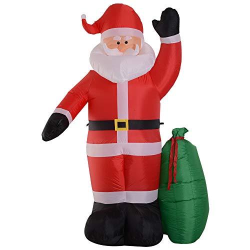 homcom Babbo Natale Gonfiabile Luminoso con Sacchetto Regalo Luci LED Decorazione Natalizia Altezza 2.4m