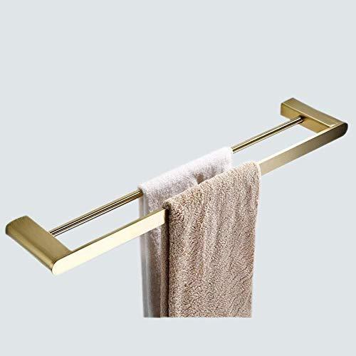 JXXDDQ Toallero de baño de acero inoxidable dorado para decoración, bipolar (color: doble polo)