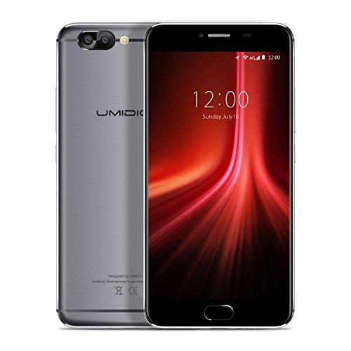 UMIDIGI Z1 - Smartphone Libre 4G de 5.5'' FHD (FDD-LTE, 6GB de RAM, 64GB de ROM, Android 7.0, doble sim, doble Cámara trasera (13MP + 5MP), 8.2mm slim, MT6757T(P20) Octa-core 2.3GHz, Sensor de huellas dactilares delantero, GPS), color gris