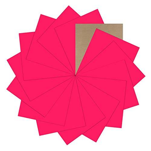 "Fluorescent Pink Heat Transfer Vinyl Bundle : 15 Pack 12"" x 10"" Sheets - Iron on Vinyl for DIY Iron on Fabrics T-Shirts Heat Press Machine"