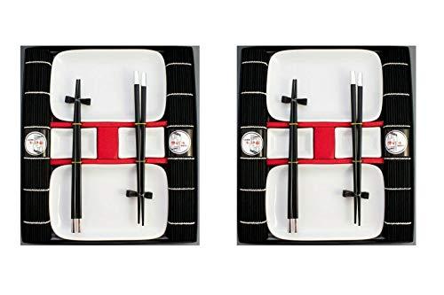 Pamai Pai® Weißes Sushi Geschirr Service - 20 teilig für 4 Personen Teller schwarz