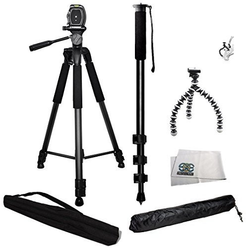3 Piece Best Value Tripod Package for Sony Digital SLR Cameras Includes 1 Professional 75 Inch Tripod with Carrying Case, 1 Professional 72 Inch Monopod, 1 Extra Flexible Gripster Tripod